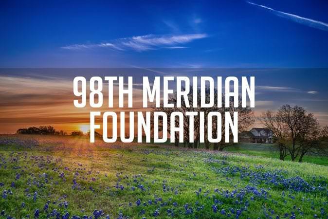 98th Meridian Foundation - Texas bluebonnet field at sunrise - Texas bluebonnet spring flower field at sunrise