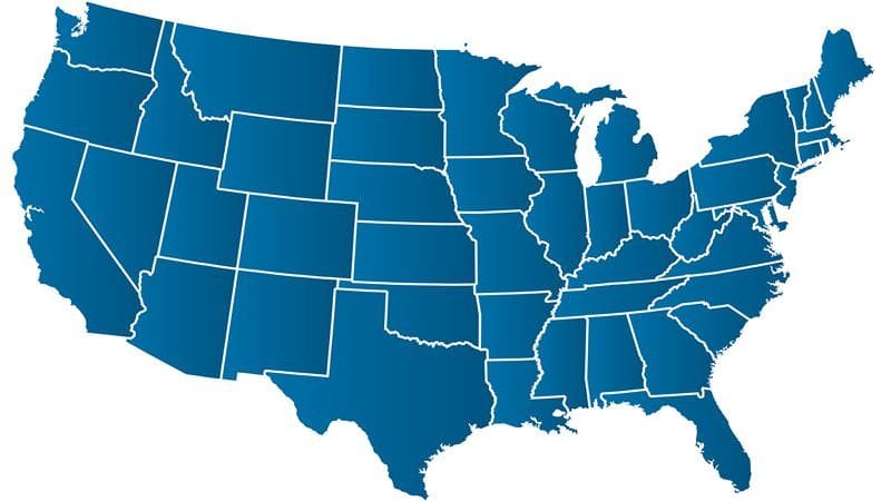 US Map Blue