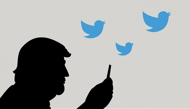 June, 2017: US President Donald Trump and Social Media Communication. Vector Cartoon.