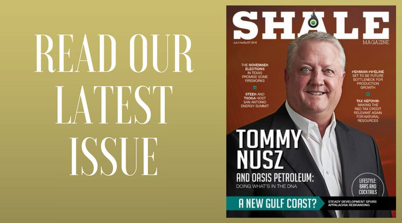 SHALE Magazine July August 2018 Issue Tommy Nusz Oasis Petroleum