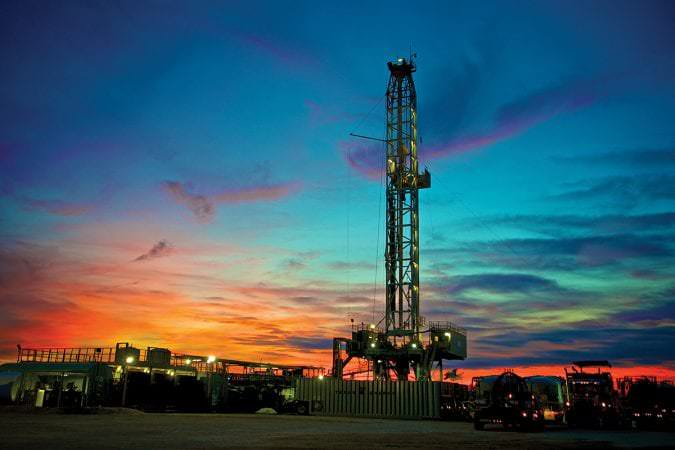 Hugo Stolte A2 Well at Eagle Ford Shale at sunset