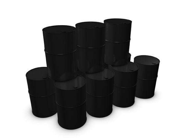 3d image stack of oil barrels on a white background